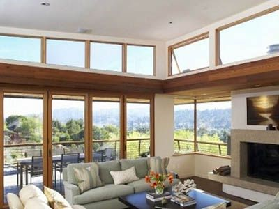 Clerestory windows provide light and ventilation for a breezy atmosphere in this home