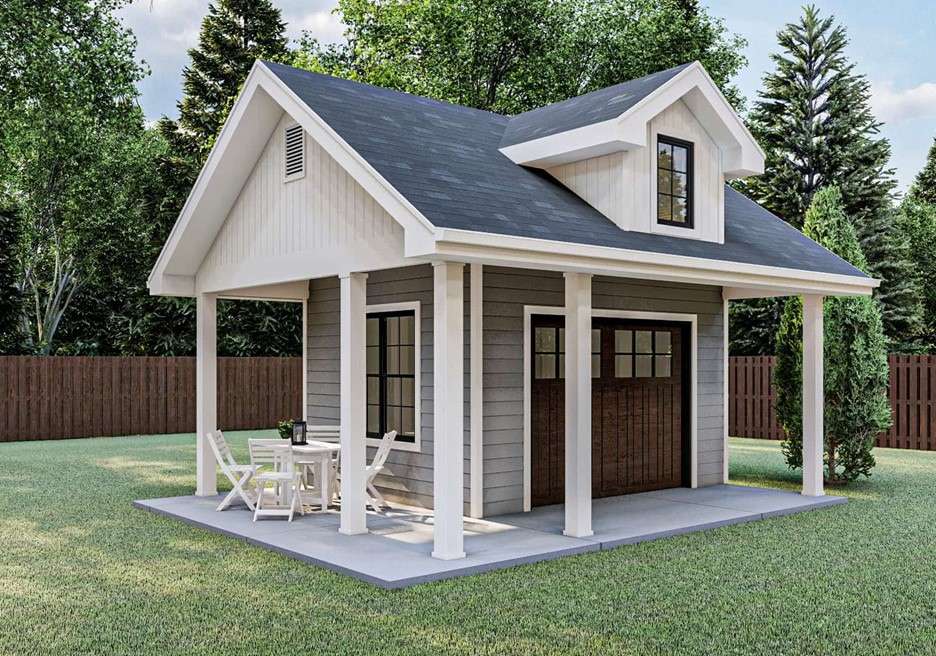 Shed with wrap-around covered patio, table and chairs, gable roof, and gable dormer