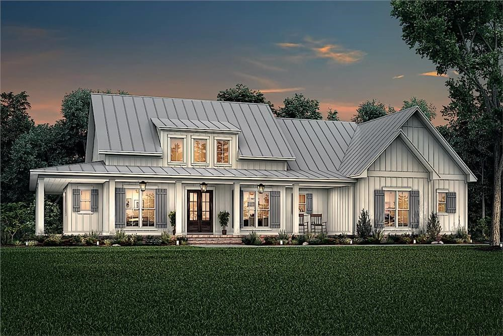 White Contemporary Farmhouse style home with standing-seam metal roof