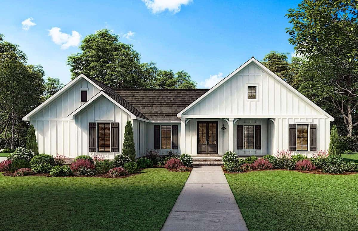Modern farmhouse wiith front and rear porches (Plan #206-1027) with 3 bedroom and 1474 sq ft