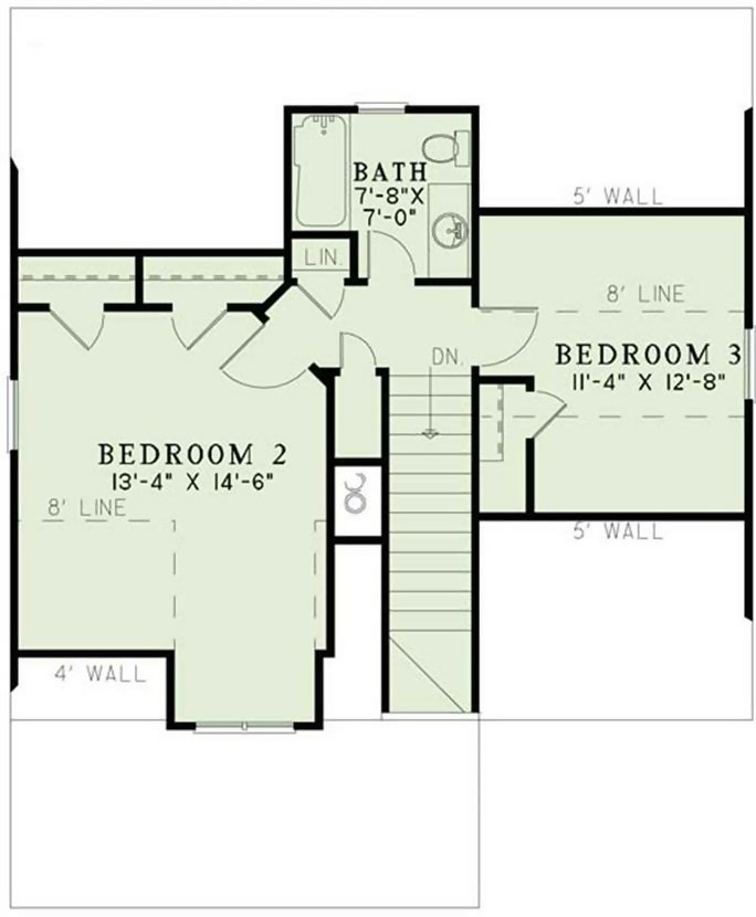 upper level floor plan of narrow-lot Plan #153-1147