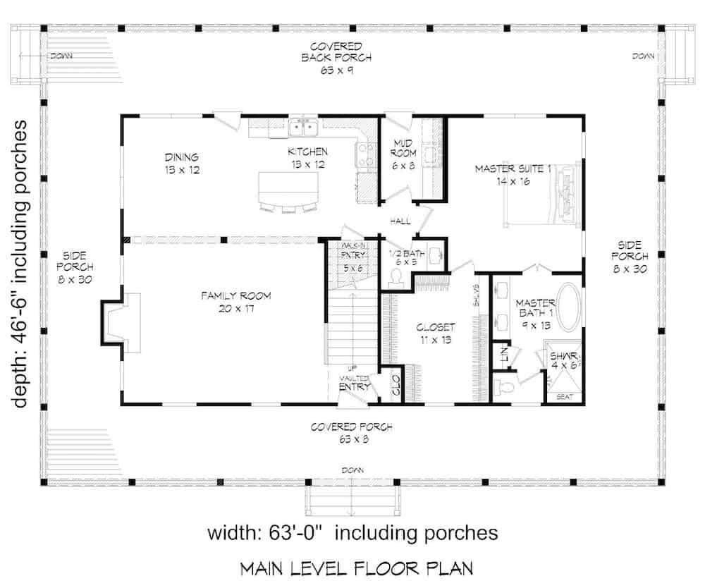 Floor plan for Farmhouse style home with wrap-around porch