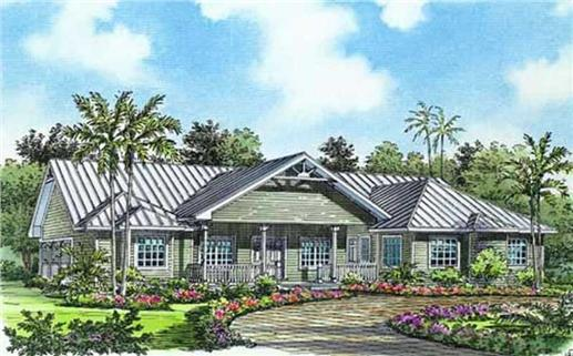 One-story, four-bedroom coastal style plan of concrete block exterior construction
