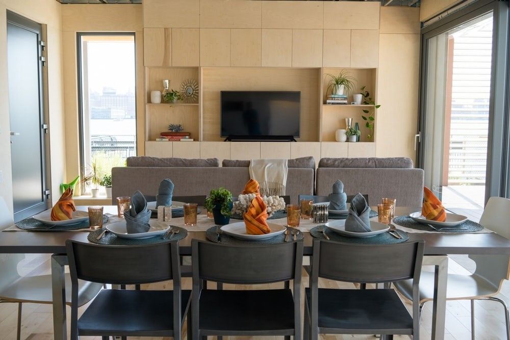 Dining and living rooms in the SURE House