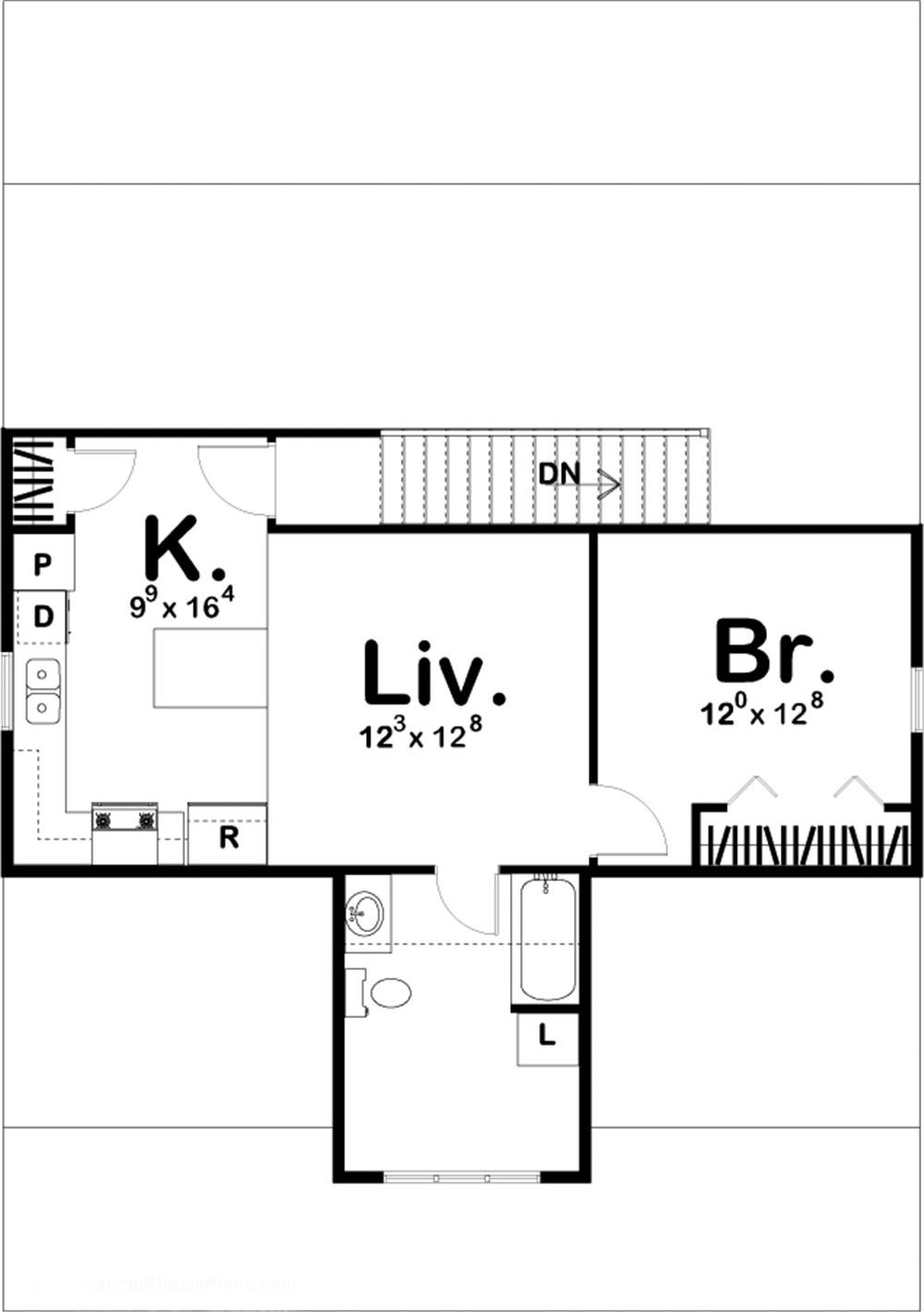 Upper level layout of Plan #100-1261