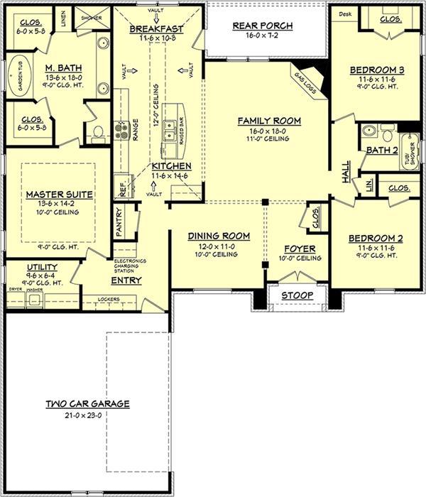 Floor plan of Acadian home with 3 bedrooms and open floor plan.