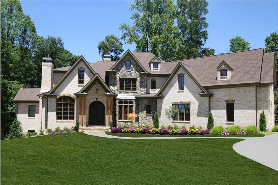 Two-story, 4,376-square-foot European-style home with asymmetrical brick and stone exterior
