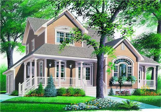 Illustrated (rendering) of two-story farmhouse