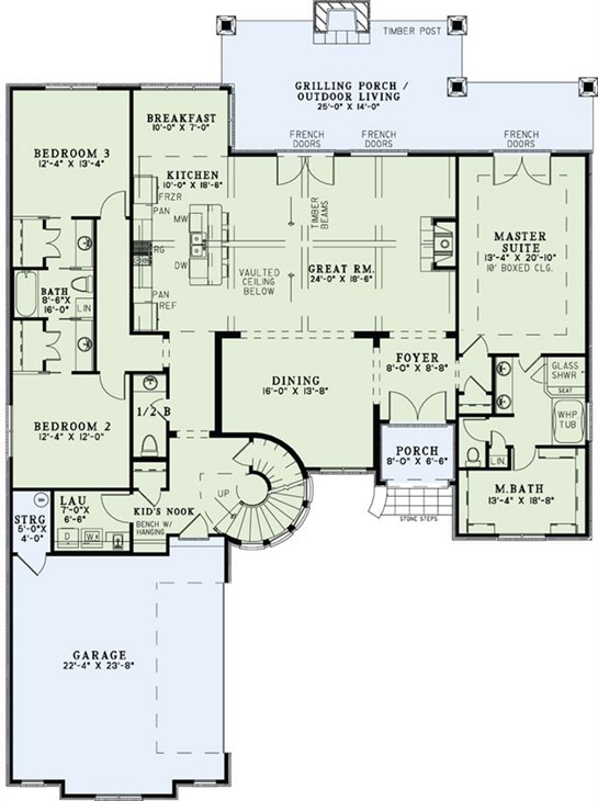 Main-level floor plan of 3084-square-foot French Country style home (plan #153-1990)