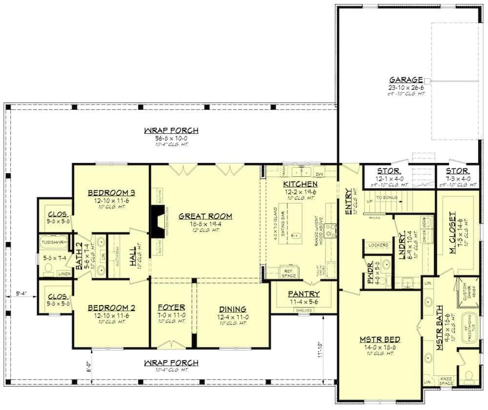 Floor plan of Contemporary Farmhouse style home  plan #142-1243