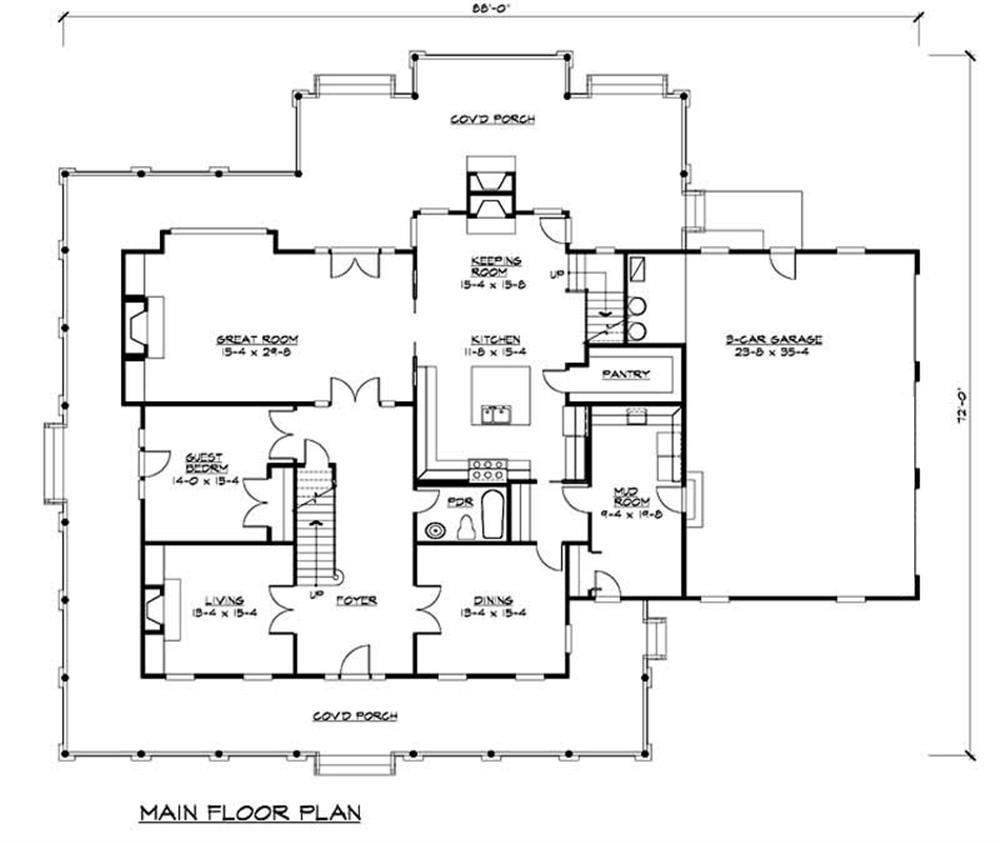 Main floor for this lovely farmhouse style plan