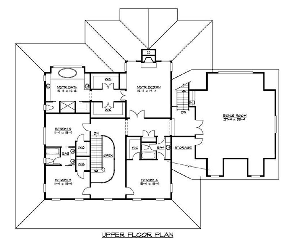 Upper floor plan to this farmhouse