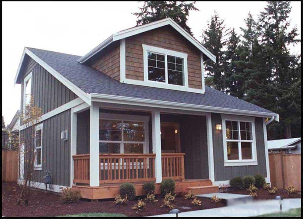 Mixed siding (shingles and board-and-batten) house plan #115-1370