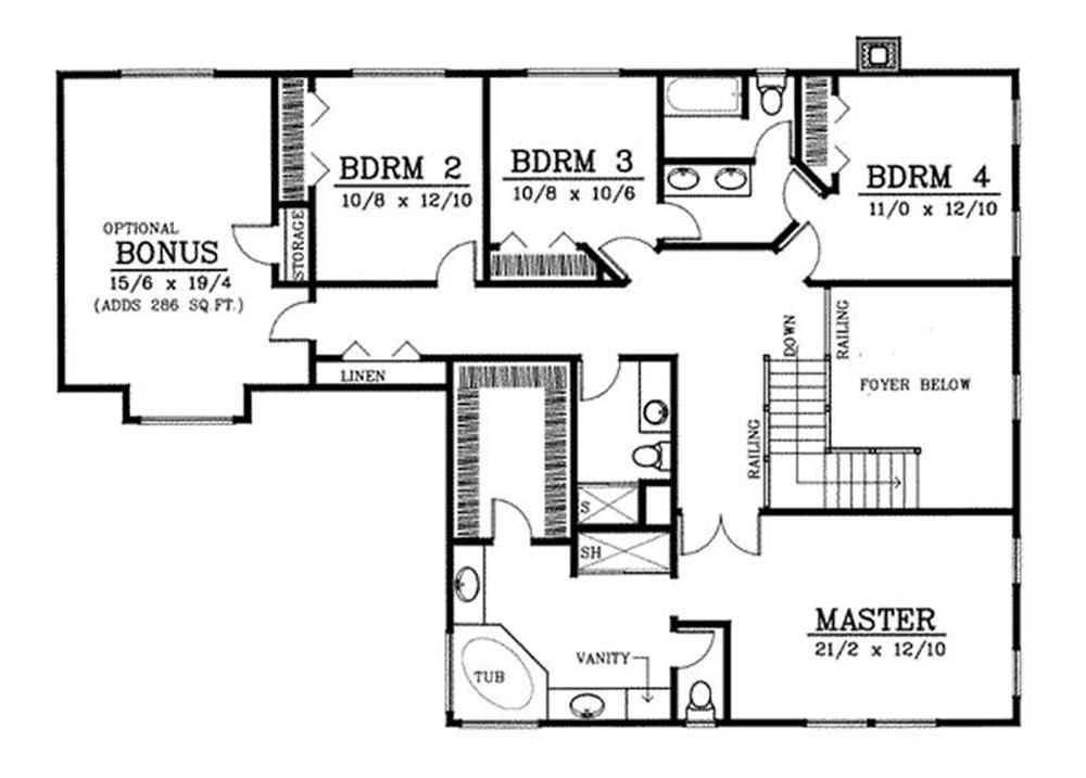 Second floor plan for this Georgian home.