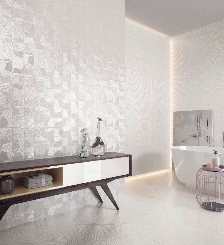 Glazed ceramic bathroom wall
