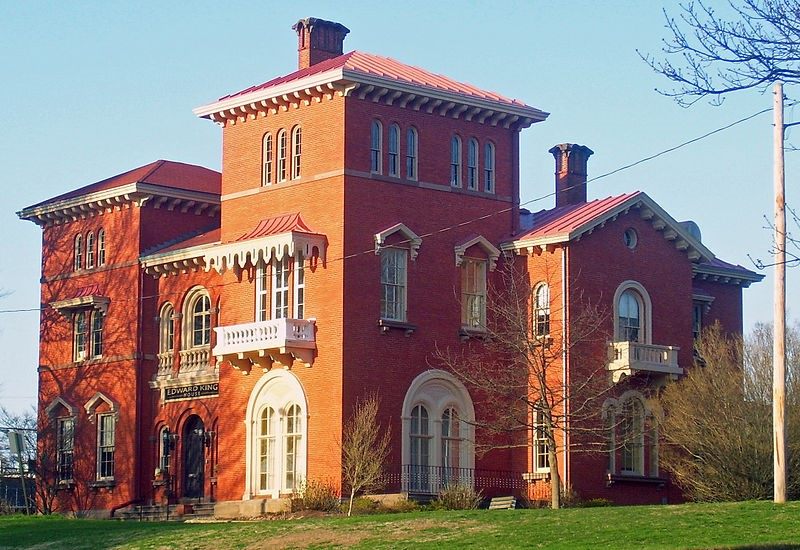 Edward King House, brick mansion in Newport, Rhode Island, with three-story tower