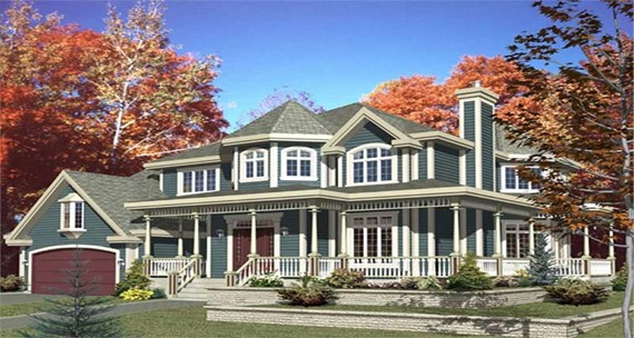 Victorian style home with gable- and hip-style roofs and a covered wrap-around porch