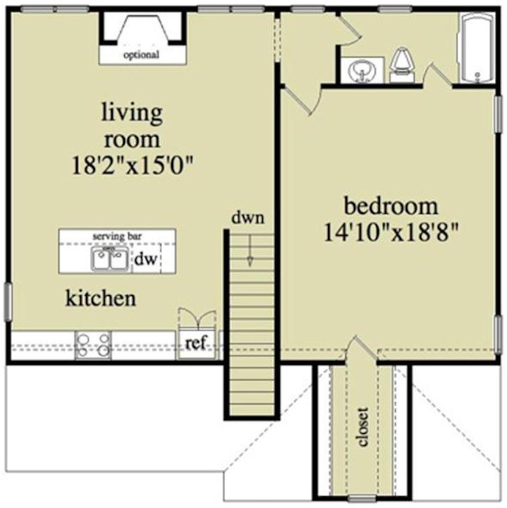 Upper level layout of Plan #163-1041