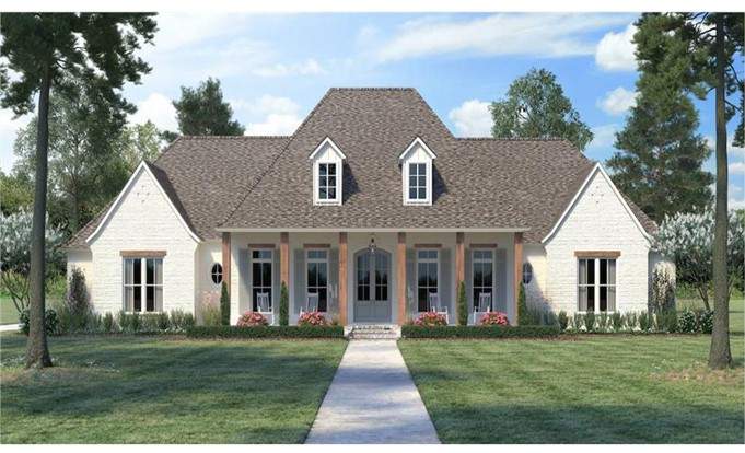 French home with steep hip and gable rooflines  and gable dormers  which are tell-tale signs of the style