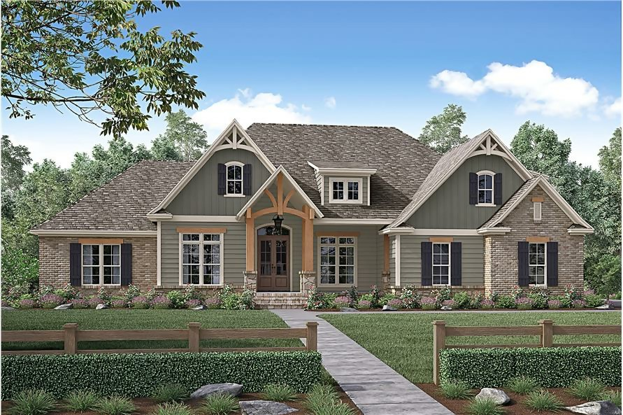 Craftsman home with mix of brick, stone, and wood for its exterior facade
