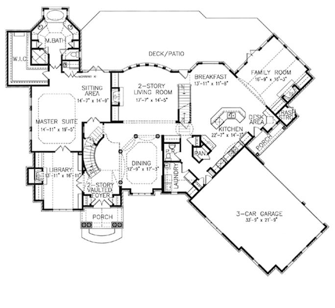 Main-level floor plan of large European-style home  Plan #198-1054