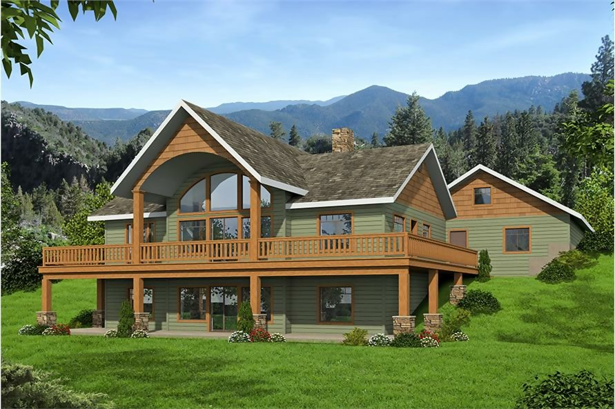 Cottage style vacation home with wrap-around rear deck and large windows to take in views