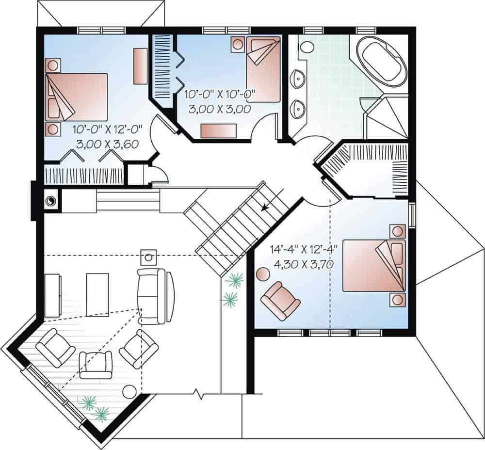Upper floor plan of house plan #126-1063