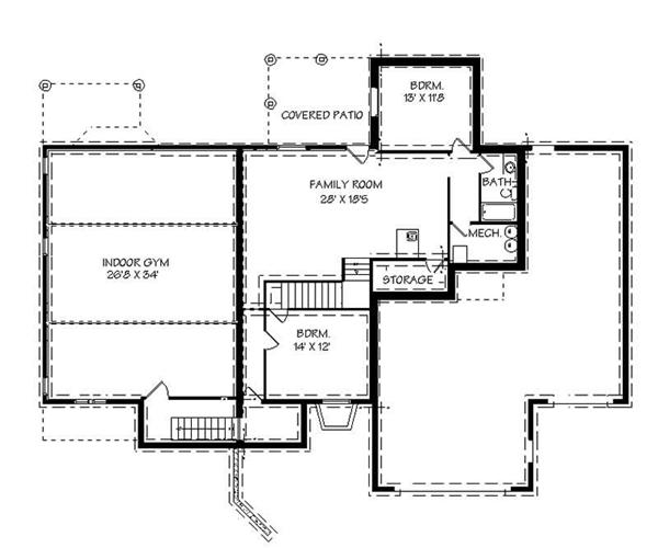 Floor plan of this home with an indoor gym on the lower level