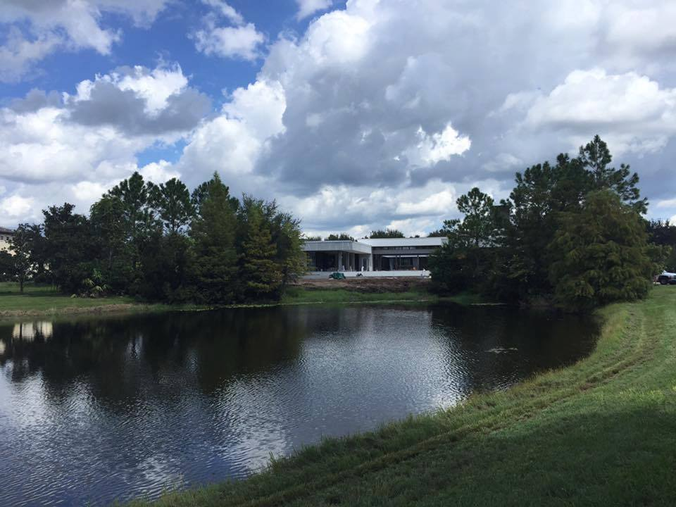 View of pond at The New American Home 2017
