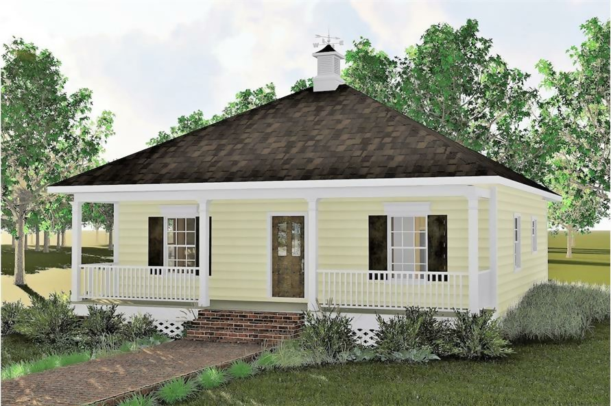 Small yellow wood-sided Bungalow style home with hip roof