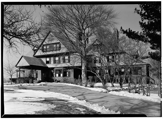 Southeast view of Sagamore Hill and a sloping path leading up to the house