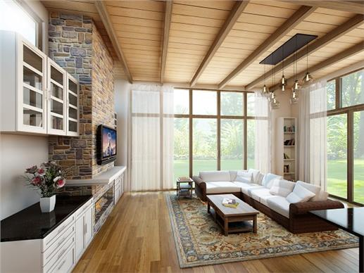 open floor plan living area with angled ceiling