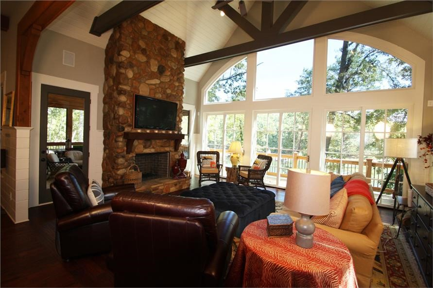 Stone fireplace in vaulted Great Room of house plan #198-1013