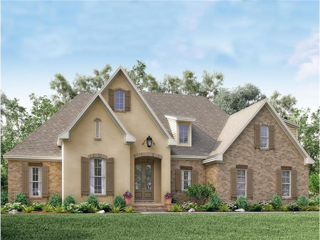 French country style: steep roof, brick and stucco siding, tall windows, shutters