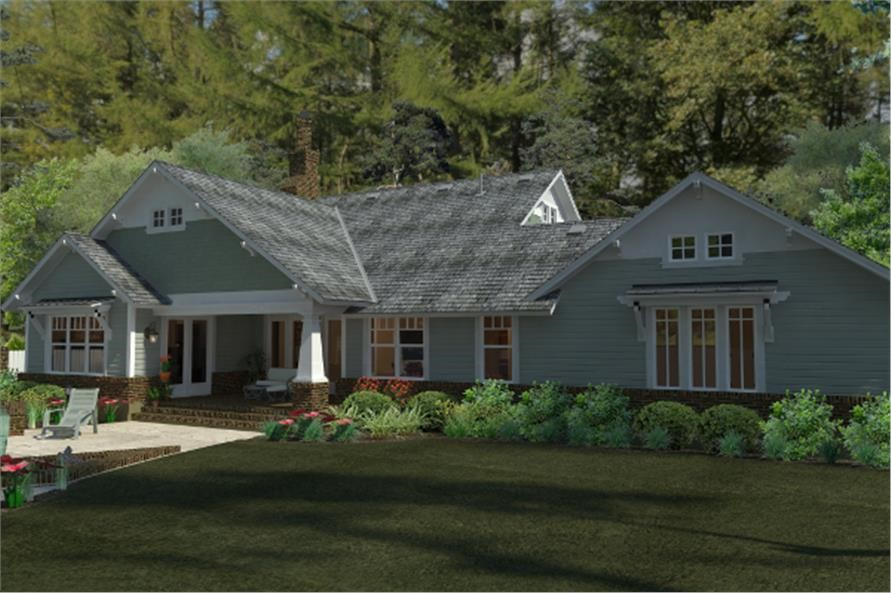 Backyard of house plan #117-1095