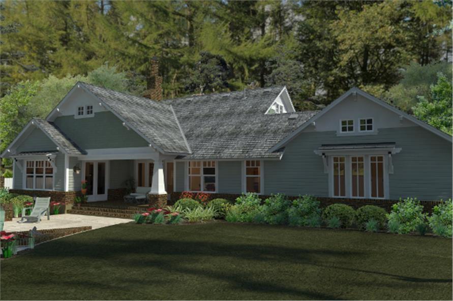 Backyard of house plan #117-1095