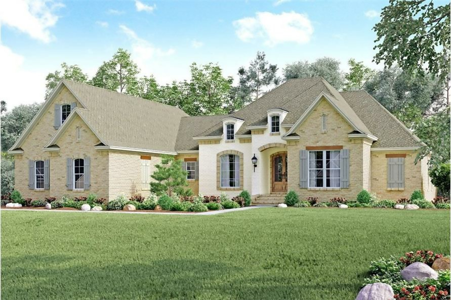 Ranch style home hip and gable rooflines, the brick facade, and covered front porch