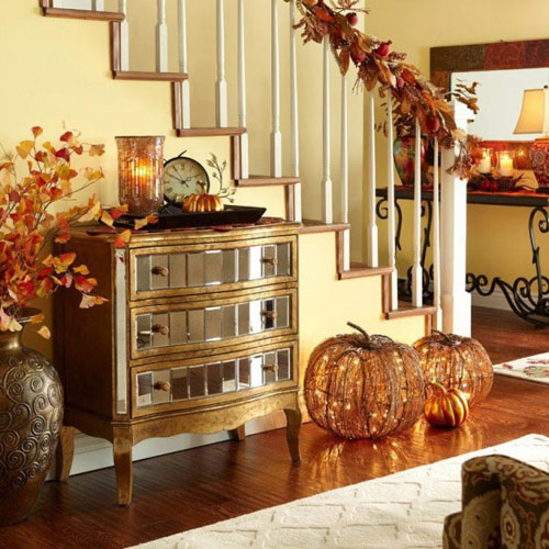 Foyer decorated in autumn colors