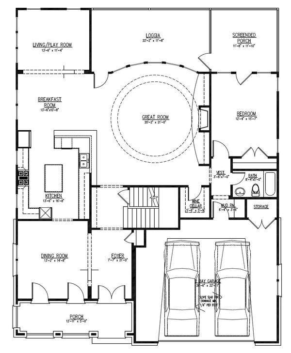 First floor plan of this Spanish Mission Revival home