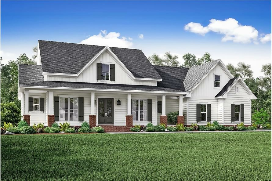 Country style home with white siding, brick accents, and wide front porch
