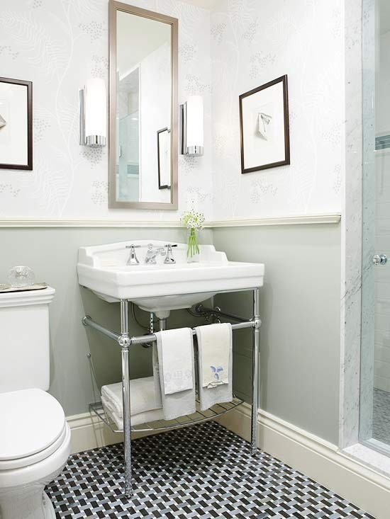 pedestal sink with a cabinet left creates a more open feeling