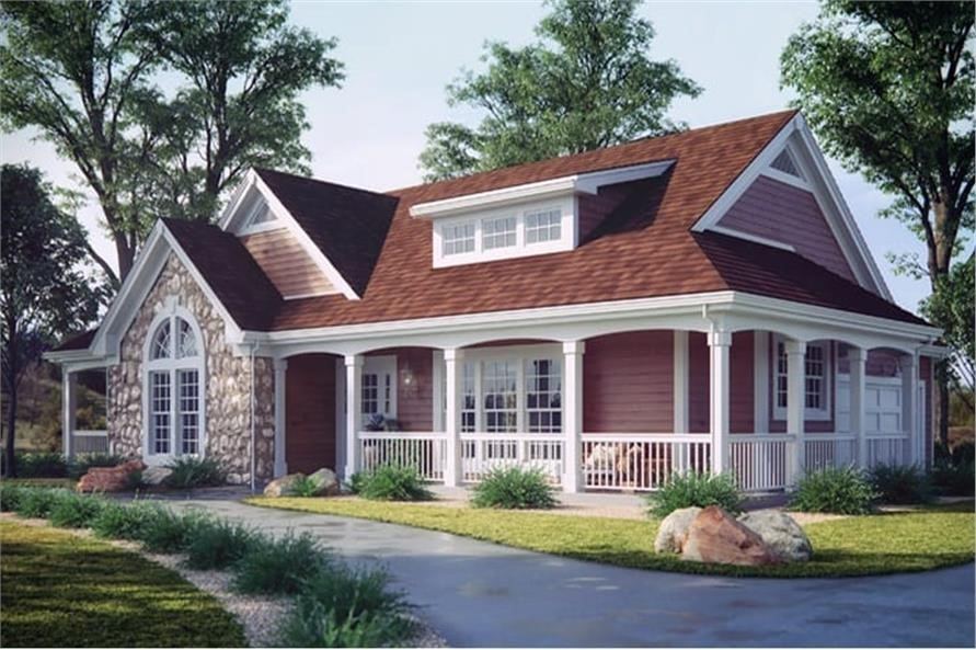 Country Ranch home with decorative shed dormer and covered front porch along two sides of the house