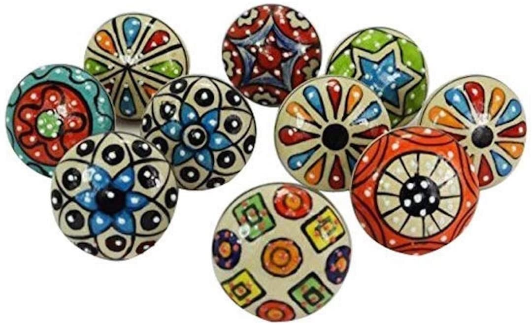 Fanciful, colorful ceramic knobs and pulls for kitchen and bath