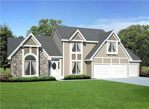 """Stone-stucco facade and hip roofs are mainstays of the """"new look"""" Tudor style home, as are the tall, thin windows"""