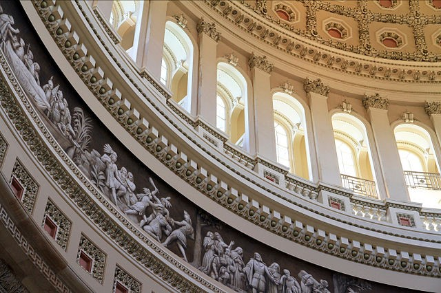 Detail view of the inside of the central rotunda of the US Capitol in Washington, DC