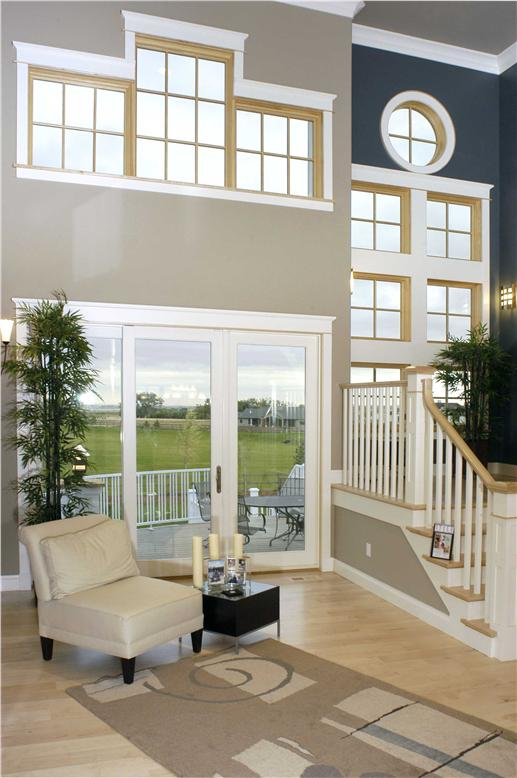 2-story-tall Great Room with large multi-pane windows