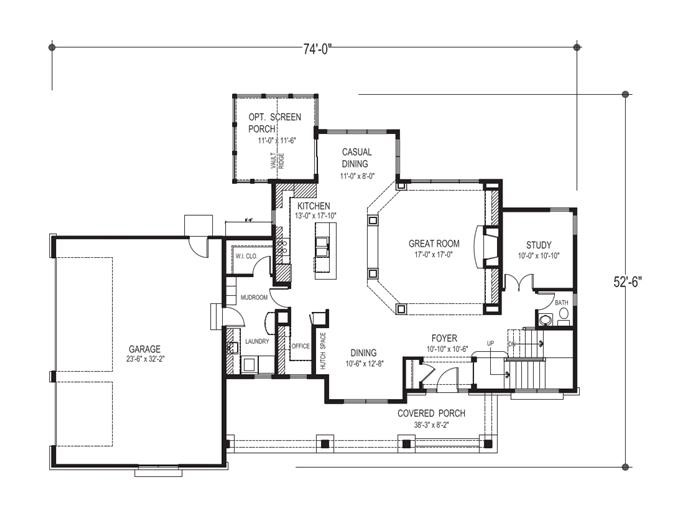 Main floor plan for Craftsman plan #109-1191