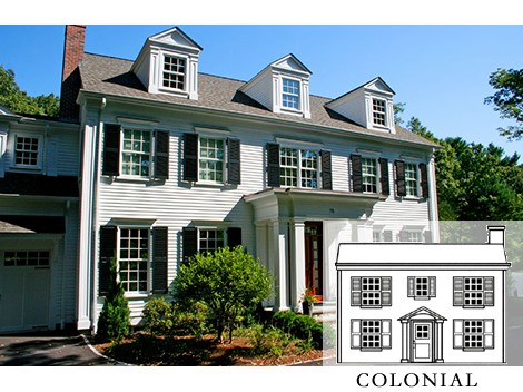 Classic Colonial home includes lower-level panel shutters and upper louvered ones.