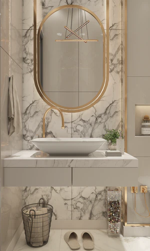 Bathroom accent wall with marble-pattern wallpaper and long oval mirror