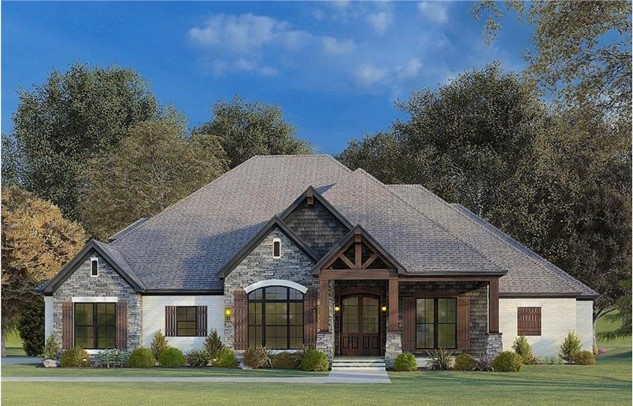 Ranch style with a French accent: steep gables, exposed wood beams, welcoming covered front porch leading to arched doorway